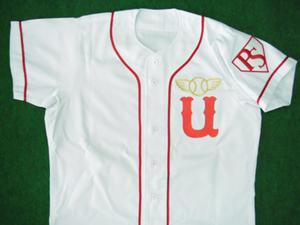 1947年の国民野球連盟の宇高レッドソックスのユニフォームシャツ